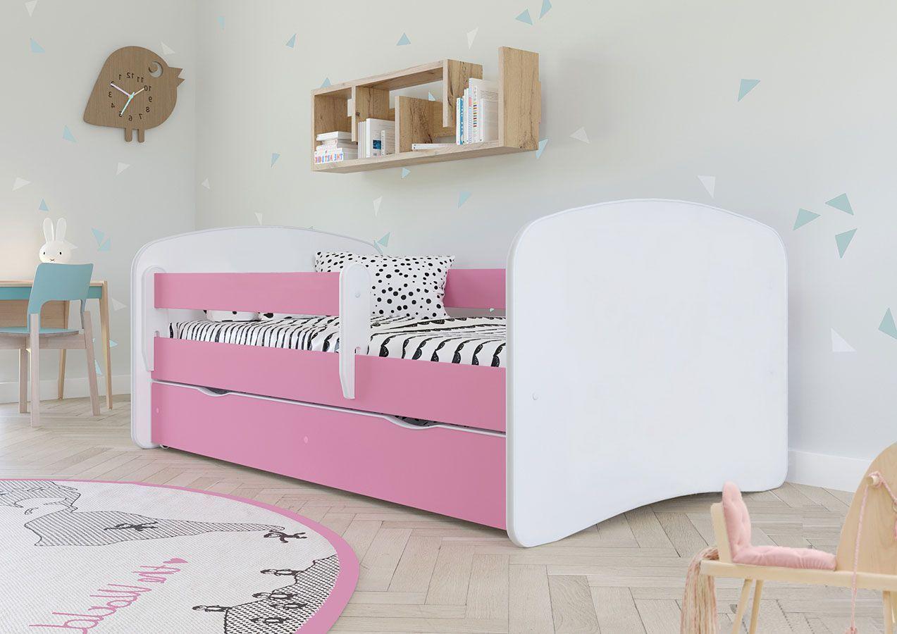 Łóżko dla dziewczynki z szufladą Happy 2X 80x180 - różowe