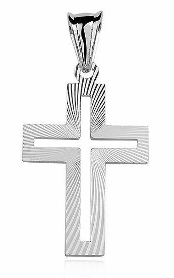 Srebrny krzyżyk krzyż diamentowany srebro 925 KD020