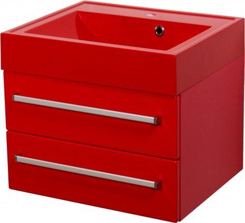 Szafka łazienkowa czerwona 60cm z czerwoną umywalką dolomitową UFKS 60x50cm, Styl Nowoczesny, FOKUS Gante