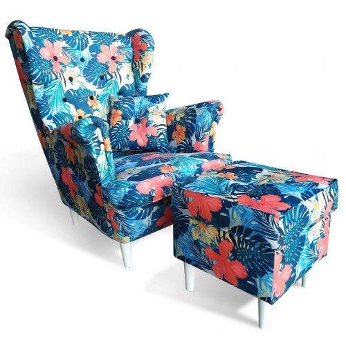 Fotel Uszak z podnóżkiem w kwiaty USZAK 7