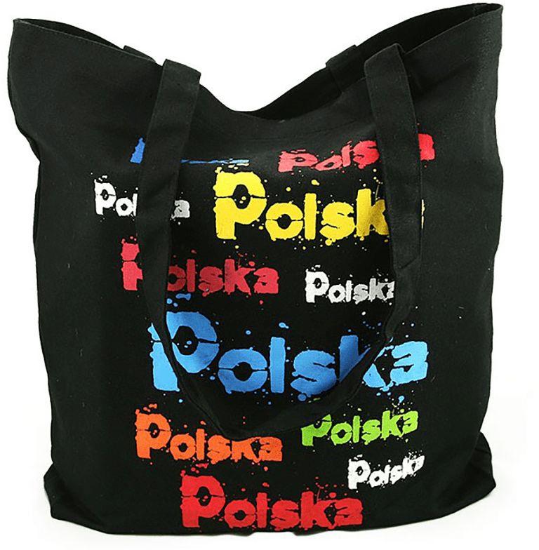 Torba płócienna czarna z kolorowymi napisami POLSKA