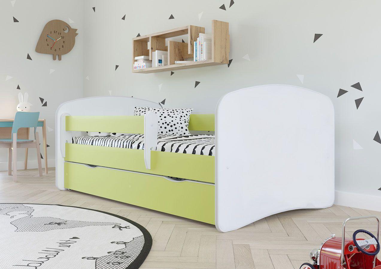 Łóżko dziecięce z barierką Happy 2X 80x180 - zielone