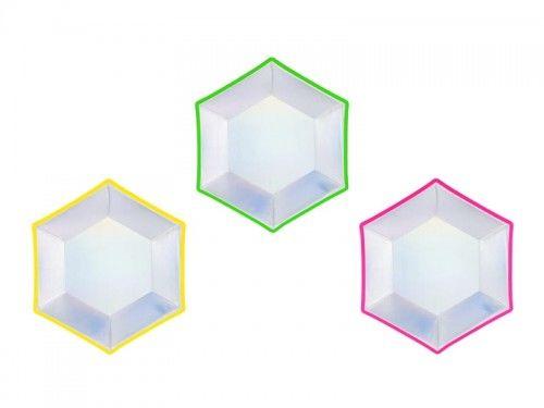 Talerzyki papierowe Disco Party, holograficzne, 6 szt.