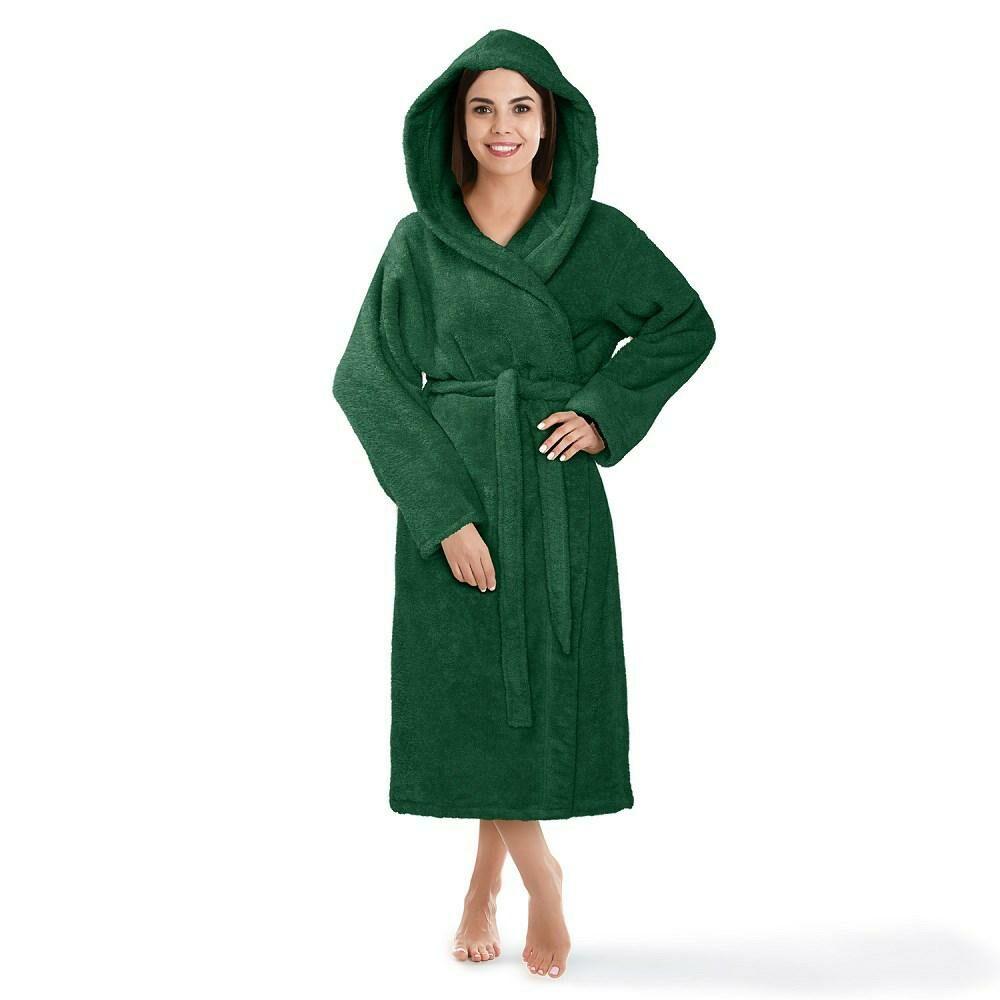Szlafrok z kapturem frotte Robin XS zielony butelkowy bawełniany hotelowy 450g/m2