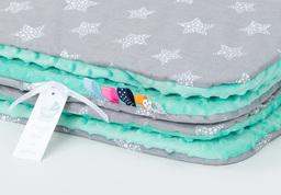 MAMO-TATO Kocyk Minky dla niemowląt i dzieci 75x100 Gwiazdki bąbelkowe białe duże / miętowy