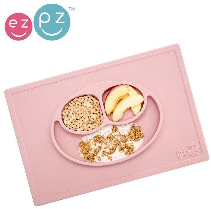 EZPZ Silikonowy talerzyk z podkładką 2w1 Happy Mat pastelowy róż EUHMB005- EZPZ, naczynia dla dzieci