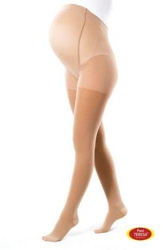 Pani Teresa Rajstopy uciskowe dla kobiet w ciąży Premium 1 klasa kompresji beżowe rozmiar III 1 sztuka
