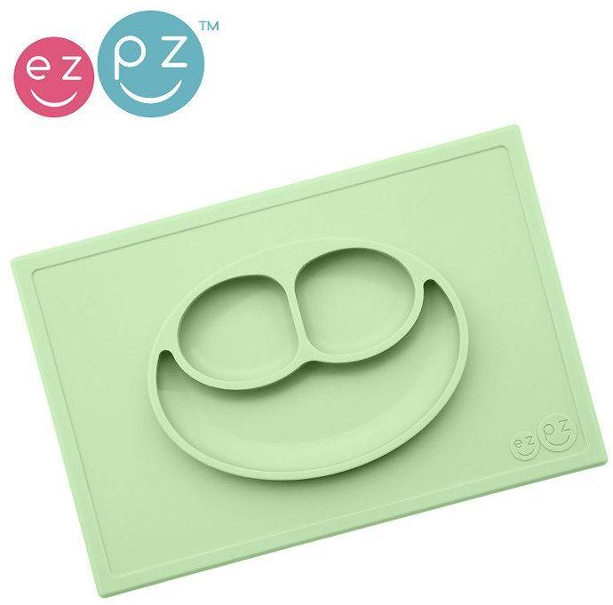 EZPZ Silikonowy talerzyk z podkładką 2w1 Happy Mat pastelowa zieleń EUHMS001- EZPZ, naczynia dla dzieci