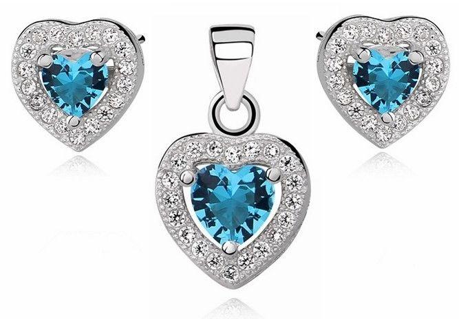 Rodowany srebrny komplet serc z błękitną cyrkonią akwamaryn srebro 925 Z0760Z_AQ