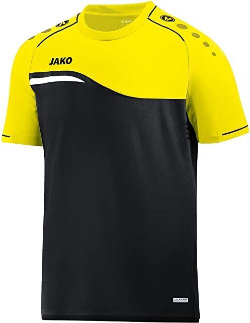 JAKO Damski T-shirt Competition 2.0, czarny/neonowy żółty, 42