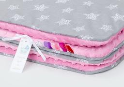 MAMO-TATO Kocyk Minky dla niemowląt i dzieci 75x100 Gwiazdki bąbelkowe białe duże / róż