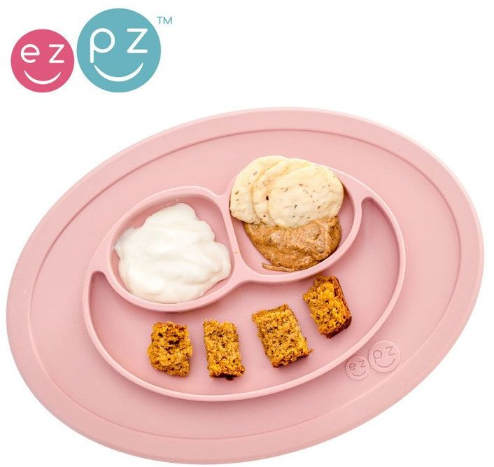 EZPZ Silikonowy talerzyk z podkładką mały 2w1 Mini Mat pastelowy róż EUMMB005- EZPZ, naczynia dla dzieci