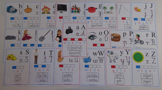 Alfabet obrazkowo-słowny - karty edukacyjne wersja 4 szkolny z kierunkiem pisania