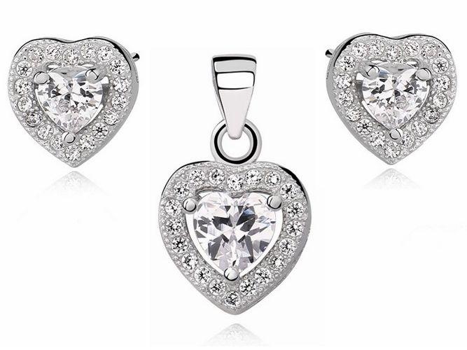 Rodowany srebrny komplet serc z białą cyrkonią cyrkonie srebro 925 Z0760Z_W