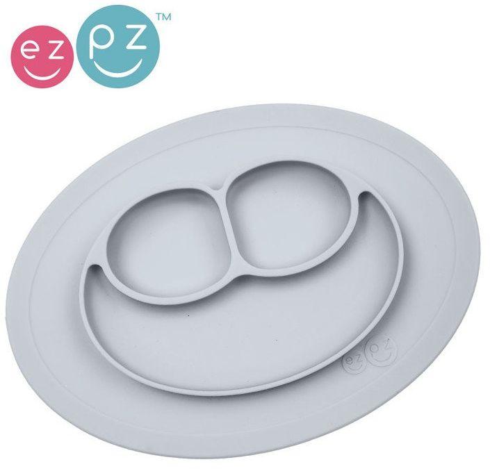 EZPZ Silikonowy talerzyk z podkładką mały 2w1 Mini Mat pastelowa szarość EUMMP003- EZPZ, naczynia dla dzieci