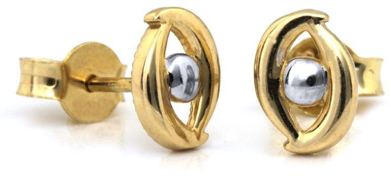 Złote kolczyki 585 migdały z kuleczką białe złoto