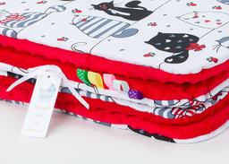 MAMO-TATO Kocyk Minky dla niemowląt i dzieci 75x100 Mruczki białe / czerwony