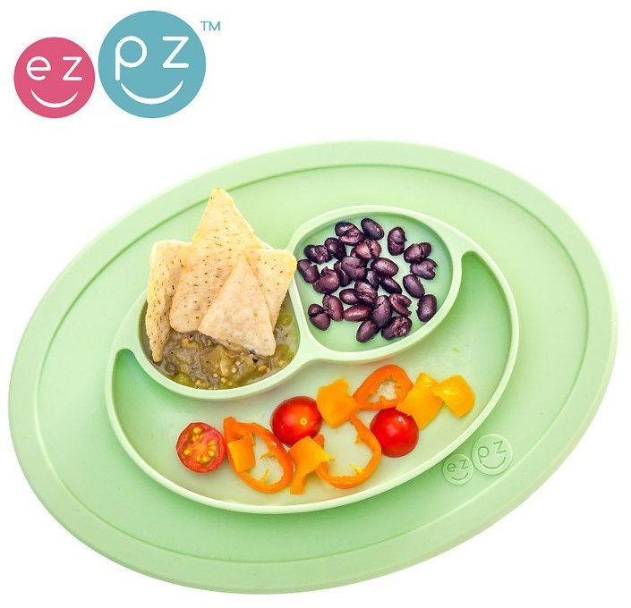 EZPZ Silikonowy talerzyk z podkładką mały 2w1 Mini Mat pastelowa zieleń EUMMS001- EZPZ, naczynia dla dzieci