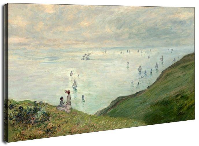 Cliffs at pourville, claude monet - obraz na płótnie wymiar do wyboru: 70x50 cm