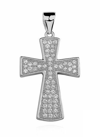 Rodowany srebrny krzyżyk krzyż cyrkonia cyrkonie srebro 925 Z0803
