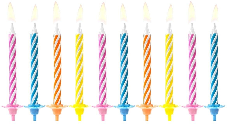 Świeczki urodzinowe mix kolorów - 10 szt.