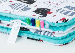 MAMO-TATO Kocyk Minky dla niemowląt i dzieci 75x100 Mruczki białe / turkus