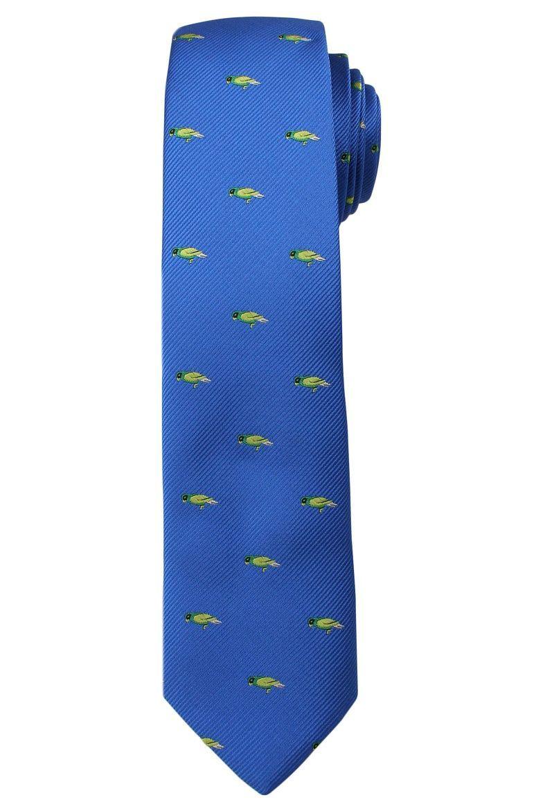 Błękitny Stylowy Krawat -Angelo di Monti- 6 cm, Męski, w Zielone Papugi, Motyw Zwierzęcy KRADM1452