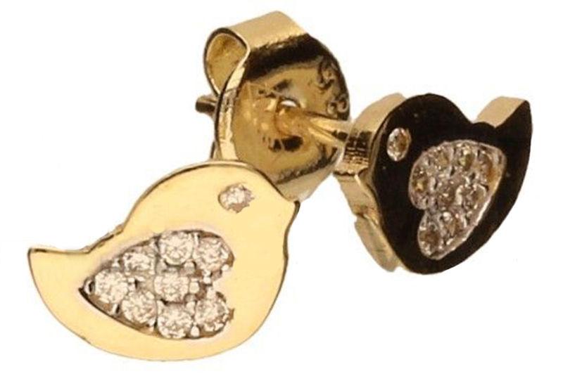 Złote kolczyki dziecięce 585 ptaszki z cyrkoniami 1,18 g