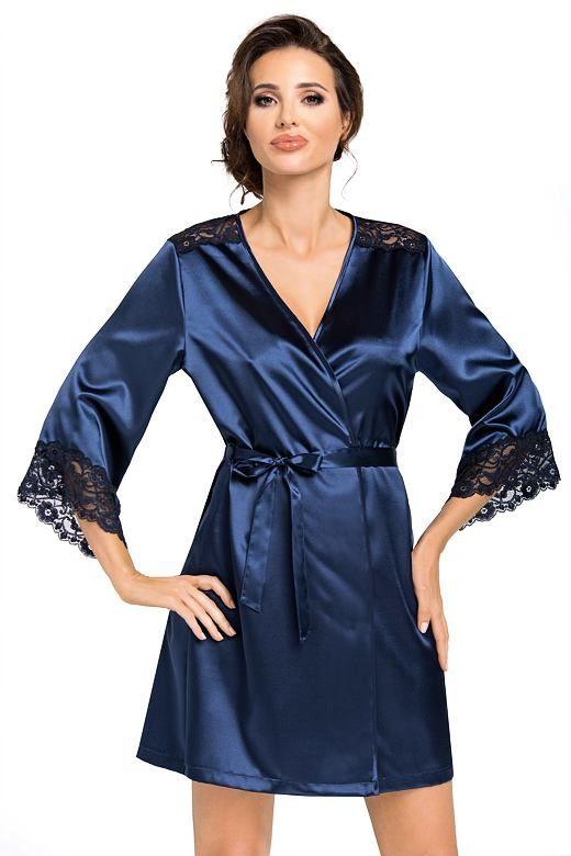 Luksusowy satynowy szlafrok Eva ciemnoniebieski