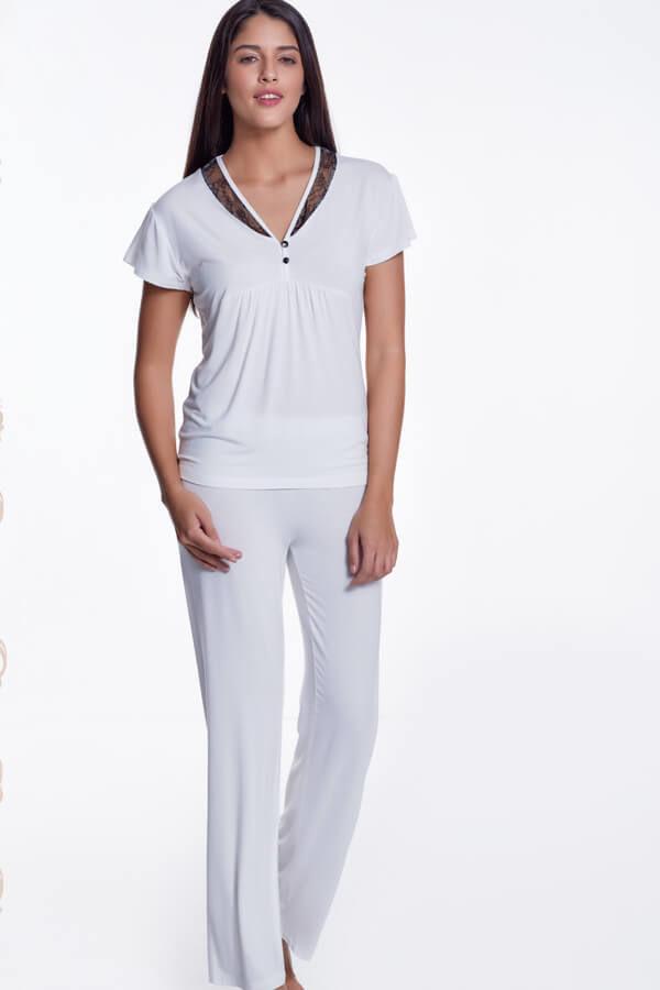 Damska bambusowa piżama ZOE Kremowy L