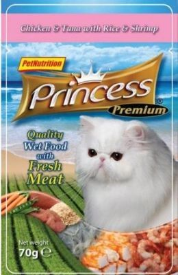 Princess Premium Kot Kurczak, tuńczyk i krewetki saszetka 70g