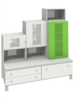 Metalowy zestaw mebli dla dziecka Fusion 2 - 3 szafy 3 szuflady