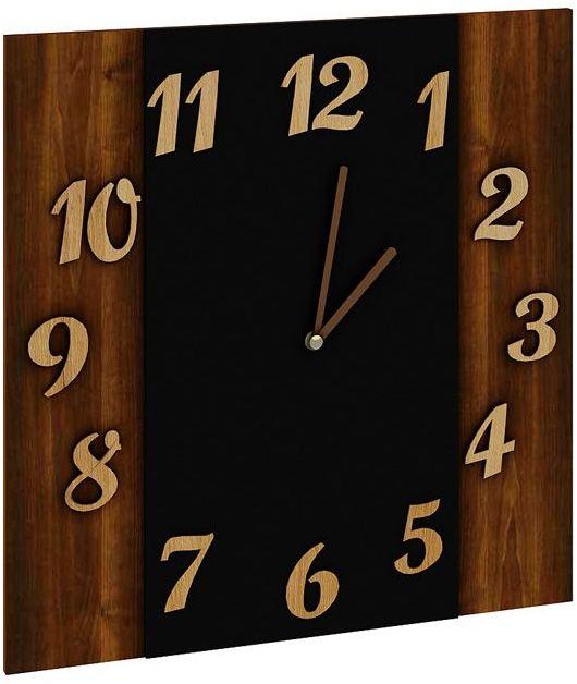 Zegar ścienny z drewna i szkła Sigan - orzech