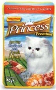Princess Premium Kot Kurczak, tuńczyk i krab saszetka 70g