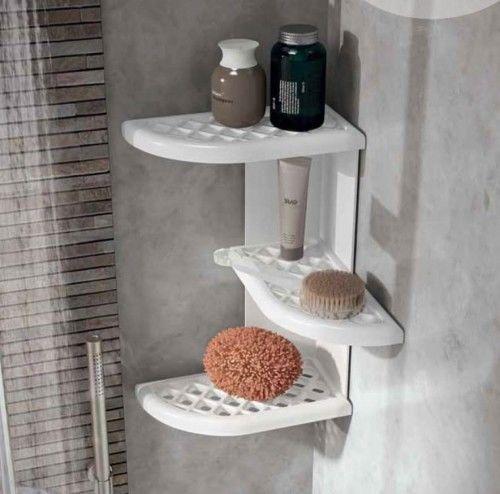 Półka łazienkowa narożna, 230x375x230 mm, ABS, biała
