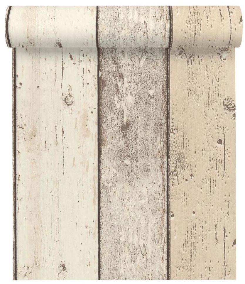Tapeta Drewno kremowa imitacja deski winylowa na flizelinie