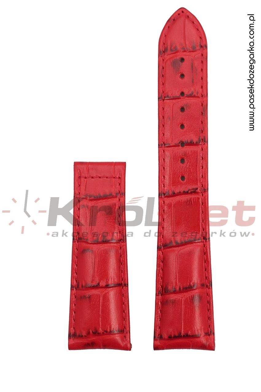 Pasek U3085 658 083 /24 mm - czerwony, faktura krokodyla