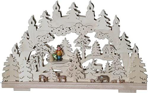 SchwibboLa 3-129 Erzgebirgischer podwójnie podświetlany świecznik łukowy z certyfikatem 3-129, 70 x 42 cm