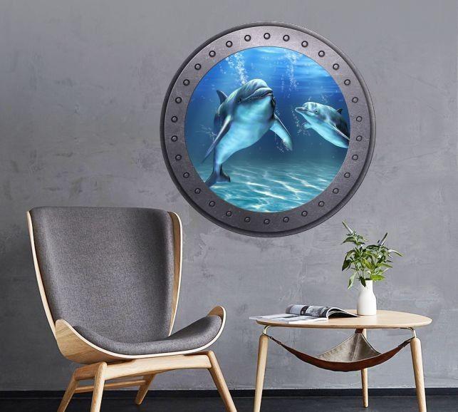Naklejka okrągłe okno z delfinami