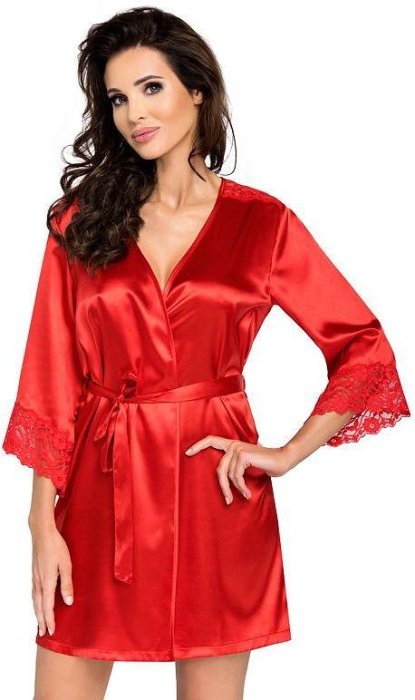 Luksusowy satynowy szlafrok Eva czerwony