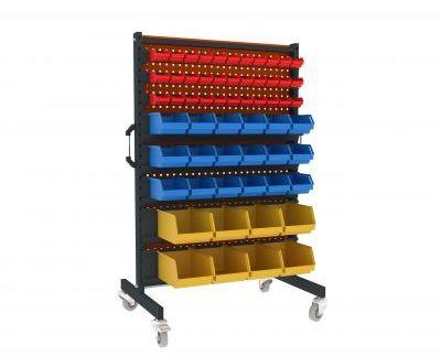 Metalowy wózek WW Malow warsztatowy na kółkach z 59 pojemnikami