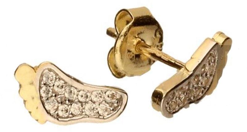 Złote kolczyki 585 celebrytki stópki z cyrkoniami 1,04 g