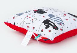 MAMO-TATO Poduszka Minky dwustronna 30x40 Mruczki białe / czerwony
