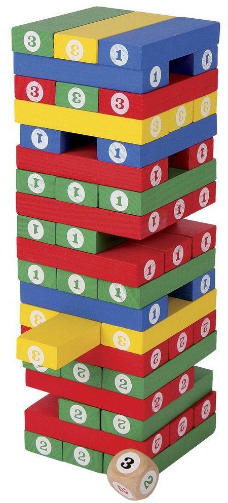 Small Foot 2019868 foot 5260 wieża z liczbami z kolorowego lakierowanego drewna, z 57 kolorowymi drewnianymi blokami i 1 drewnianą kostką