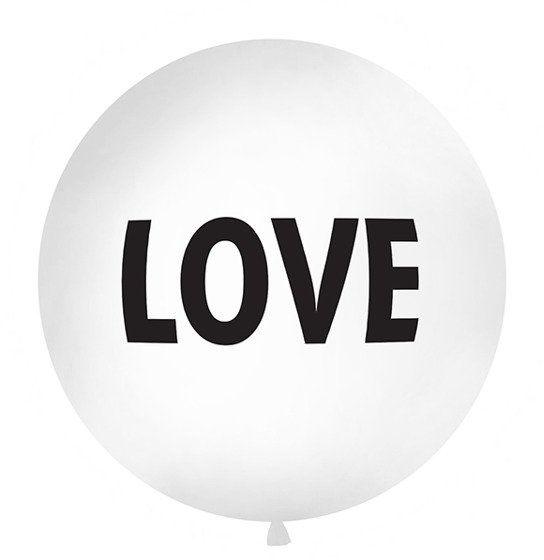 Balon LOVE 1m biały, czarny nadruk 1szt. OLBON13D-008