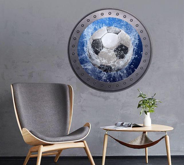 Naklejka okrągłe okno z piłką nożną w wodzie