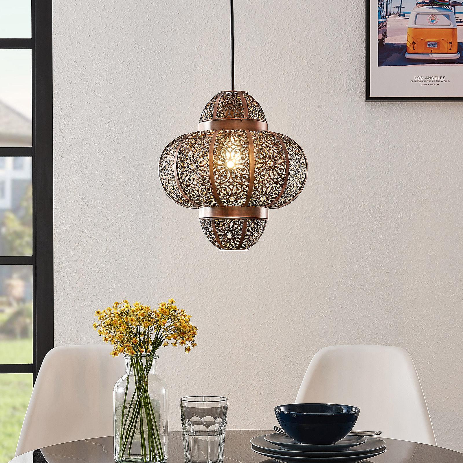 Lindby Darlia lampa wisząca z metalu brązowa