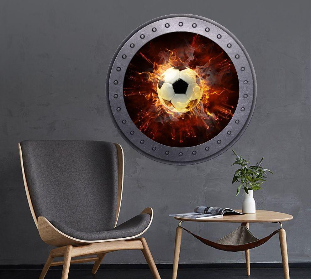 Naklejka okrągłe okno z piłką w płomieniach