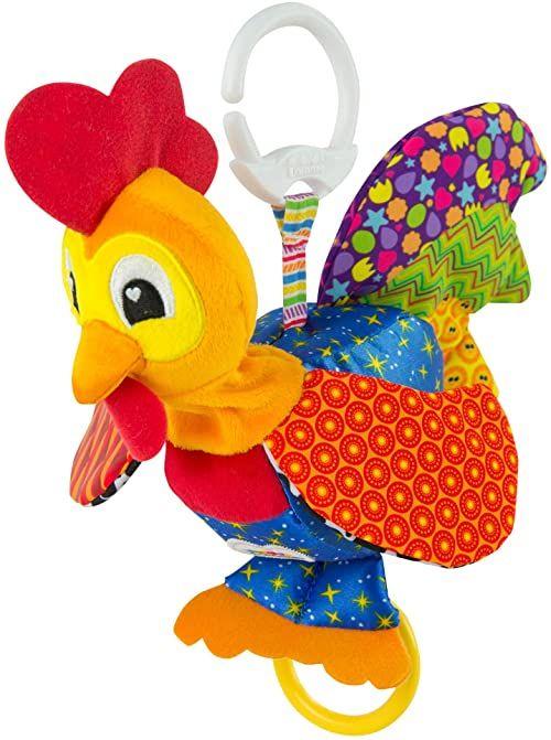 """Lamaze Zabawka dla niemowląt""""Bob, kurek"""" Clip & Go, wysokiej jakości zabawka dla małych dzieci. Piszczący kolorowy chwytak wspomaga motorykę i jest idealną zabawką do wózka dziecięcego i pluszakiem"""