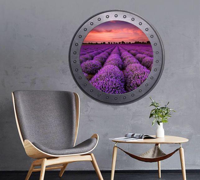 Naklejka okrągłe okno z polem lawendy
